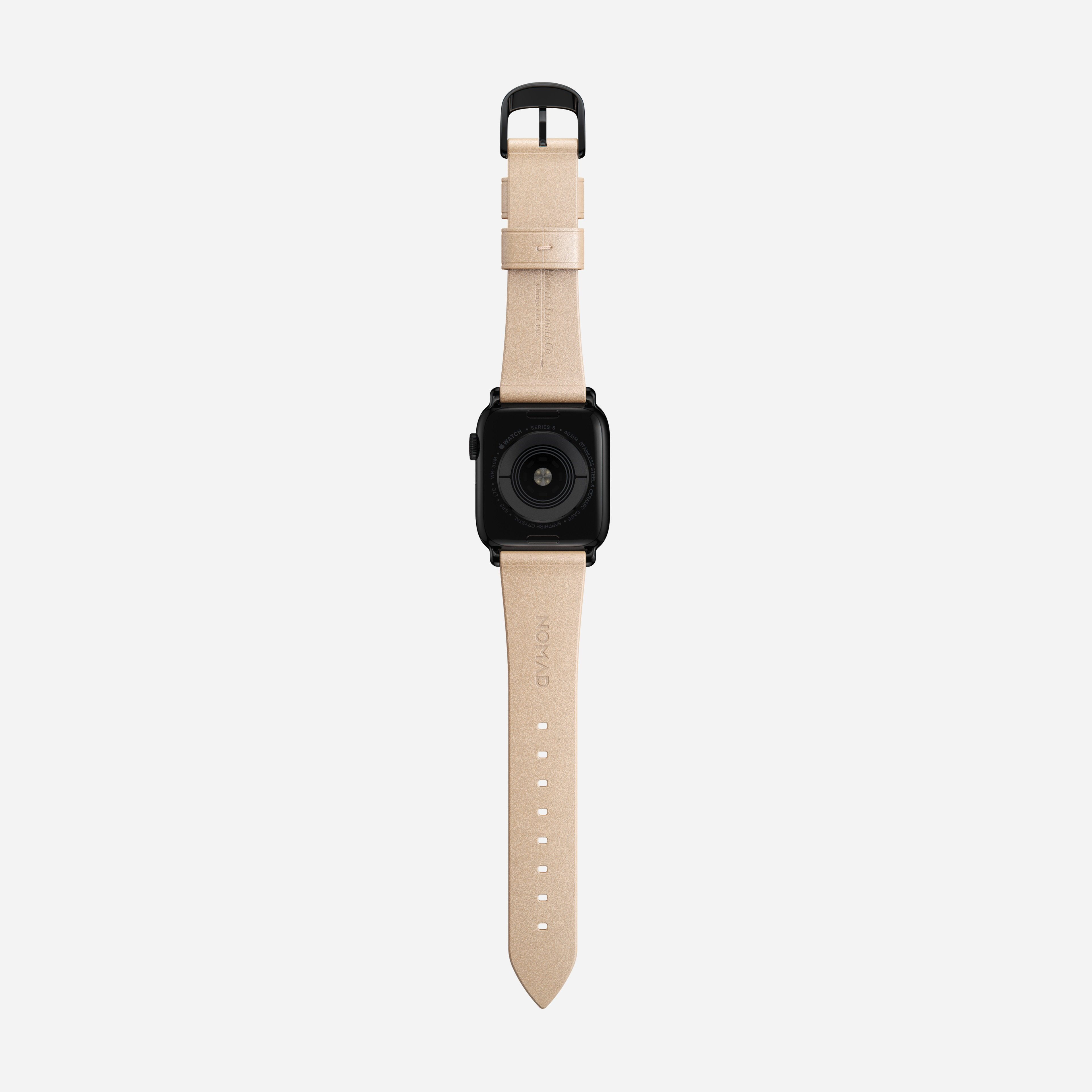 Modern slim strap horween leather natural black hardware