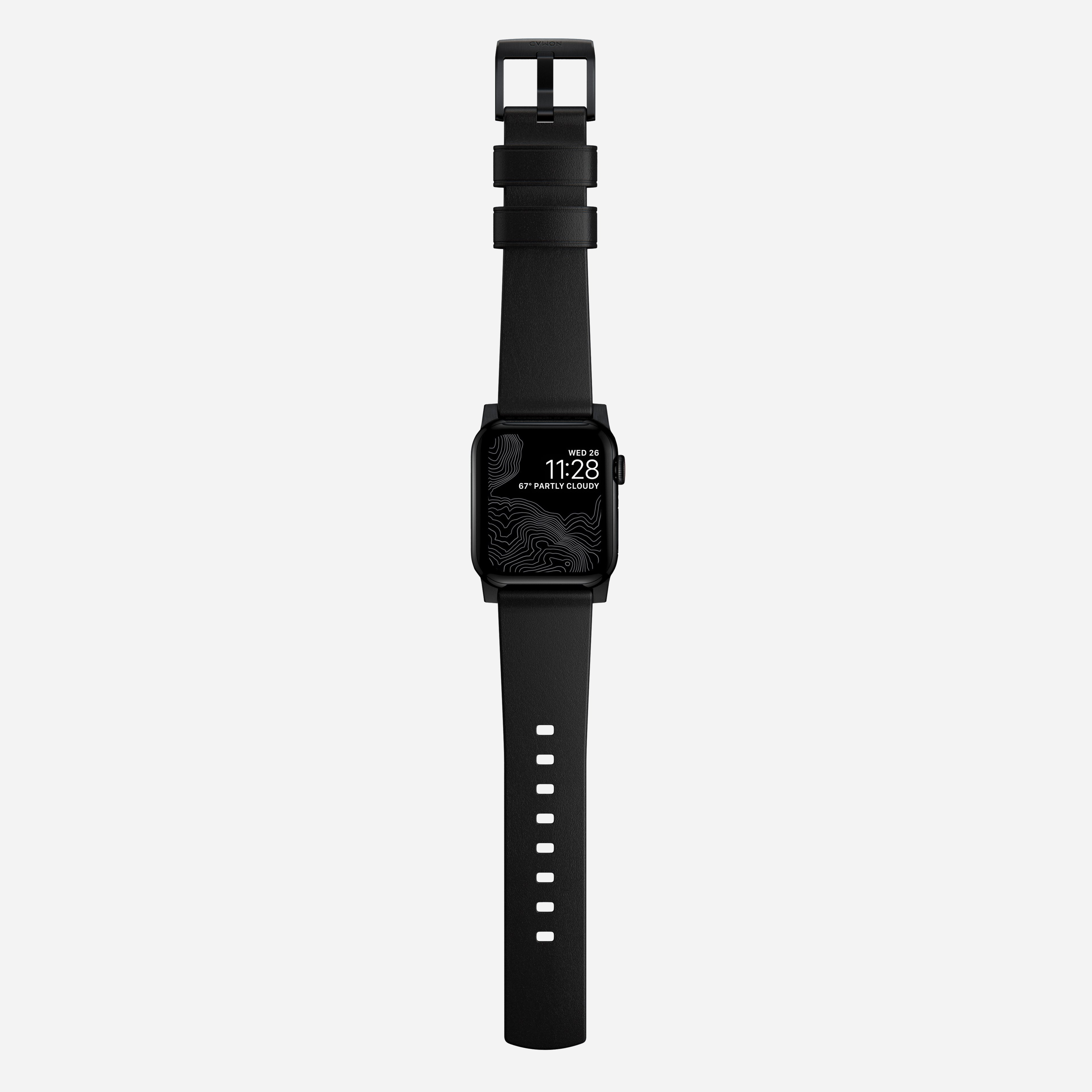 Modern strap black leather black hardware
