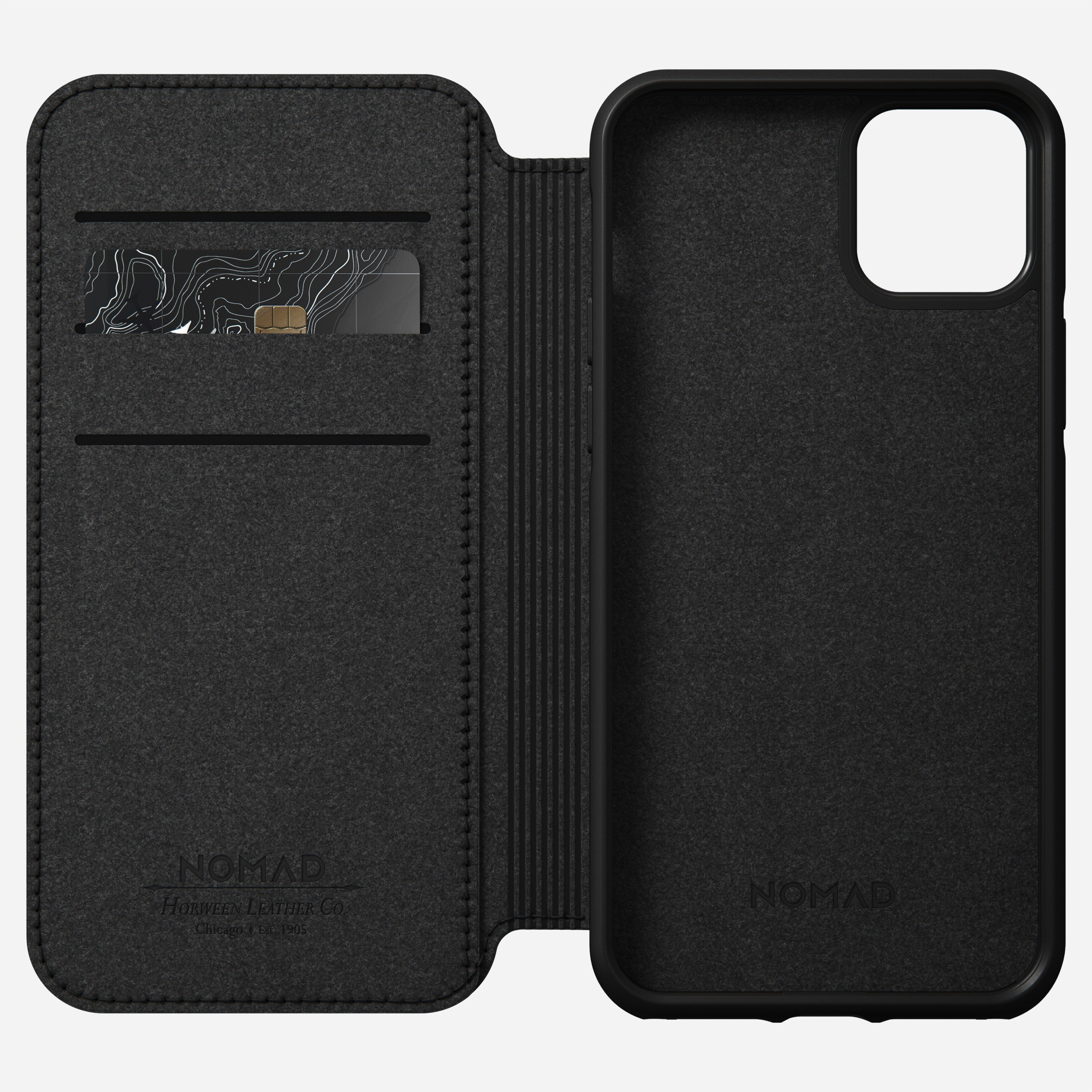 Rugged folio horween leather black iphone 12