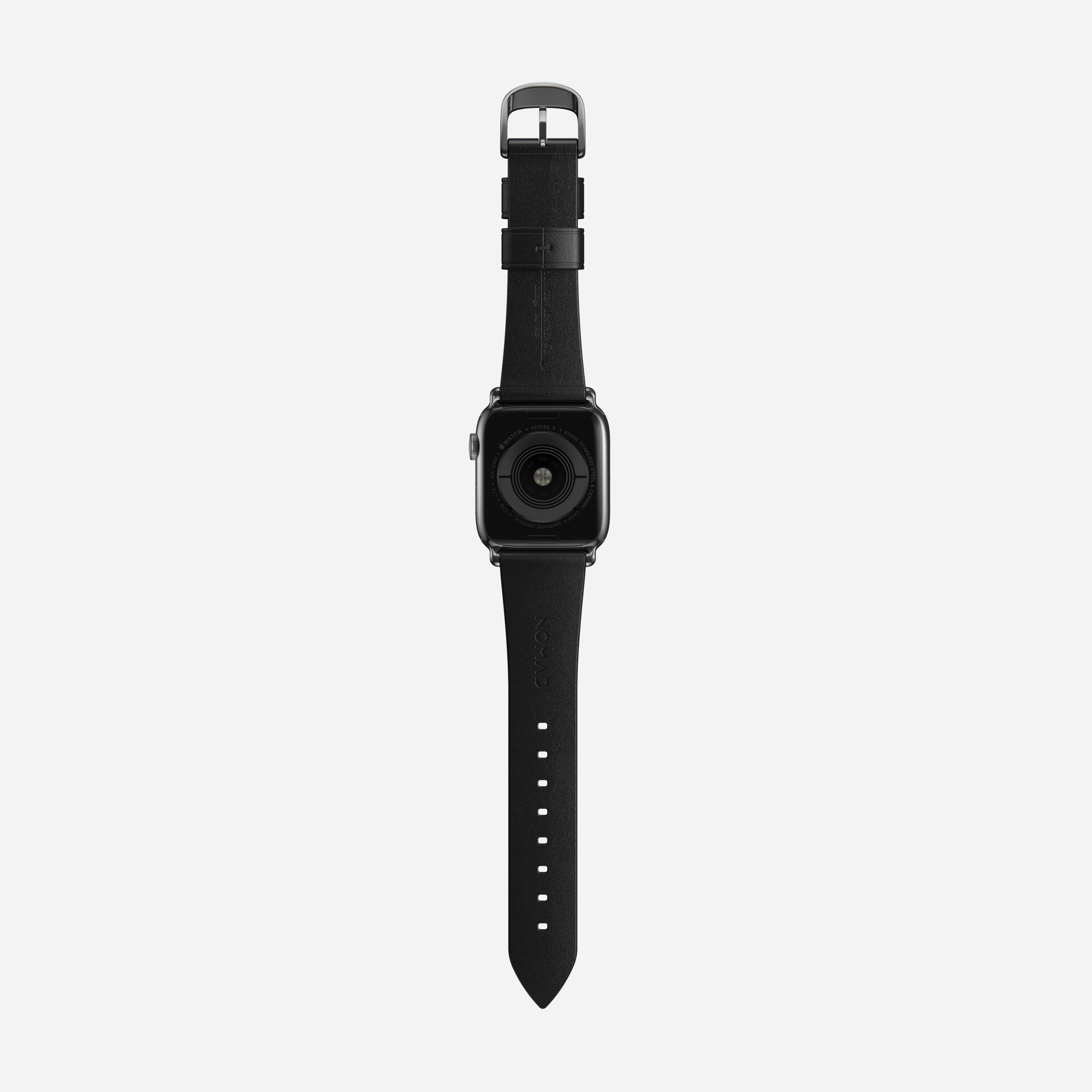 Modern slim strap horween leather black silver hardware
