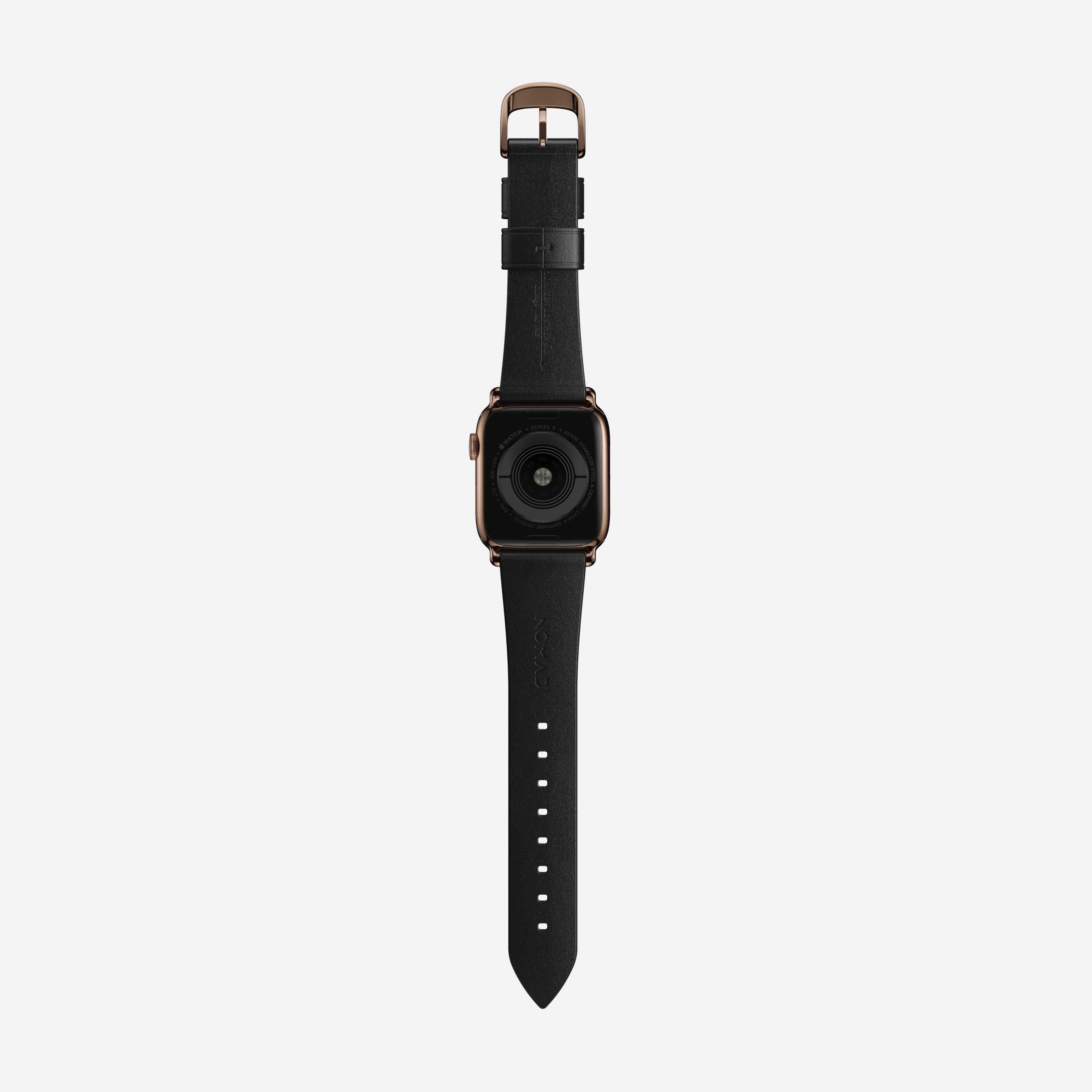 Modern slim strap horween leather black gold hardware