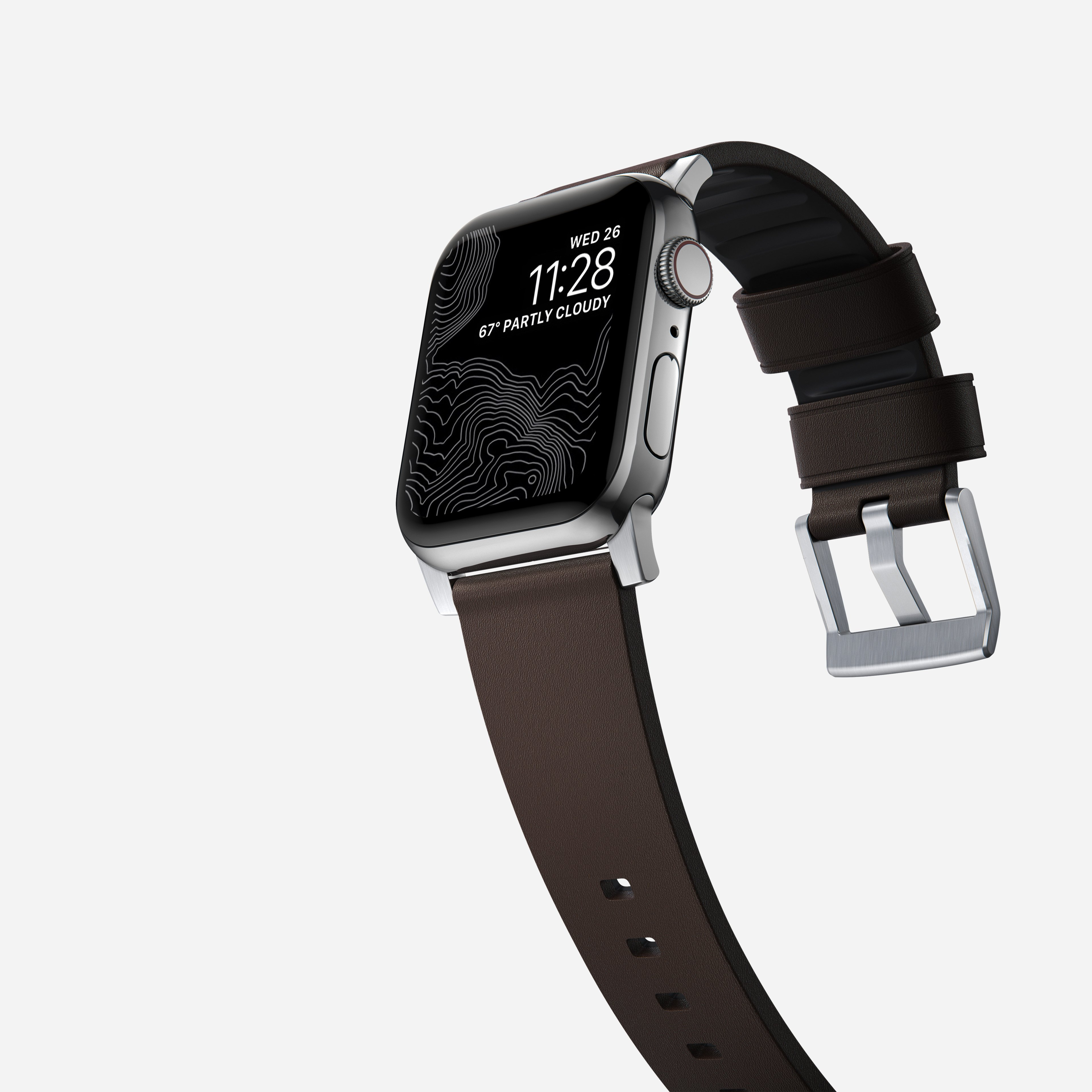 Active strap pro heinen leather classic brown silver hardware 40mm
