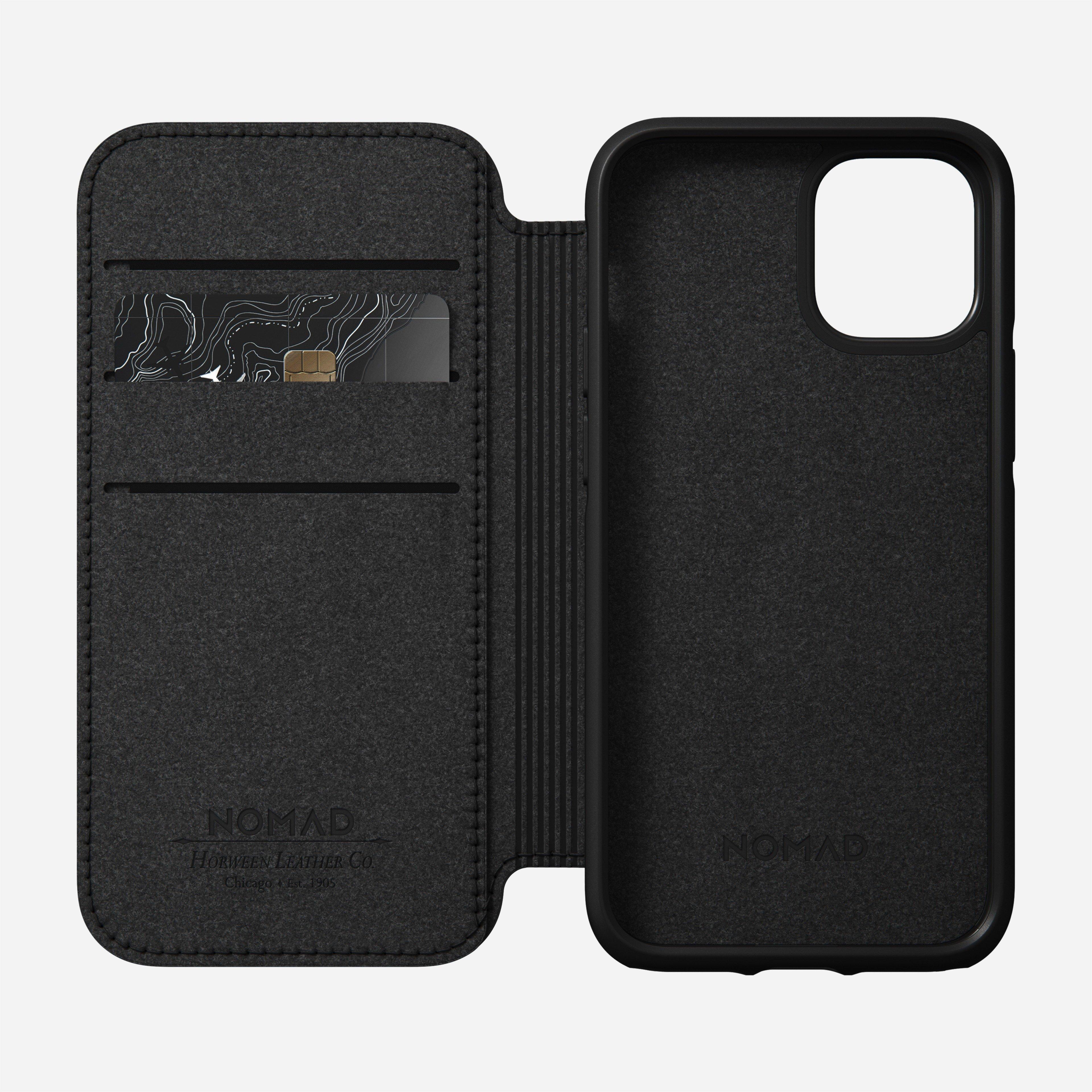 Rugged folio horween leather black iphone 12 mini