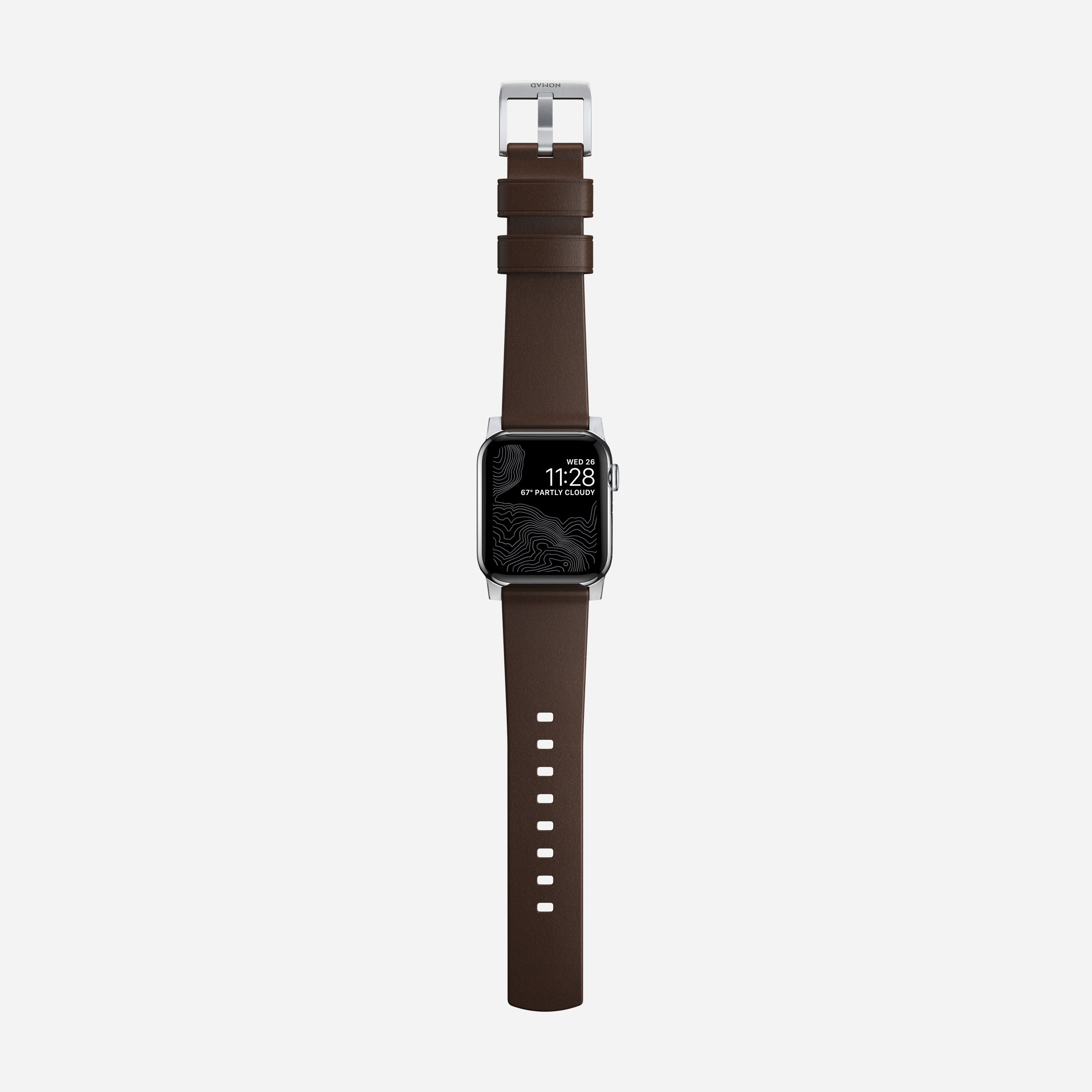 Modern strap rustic brown silver hardware 40mm