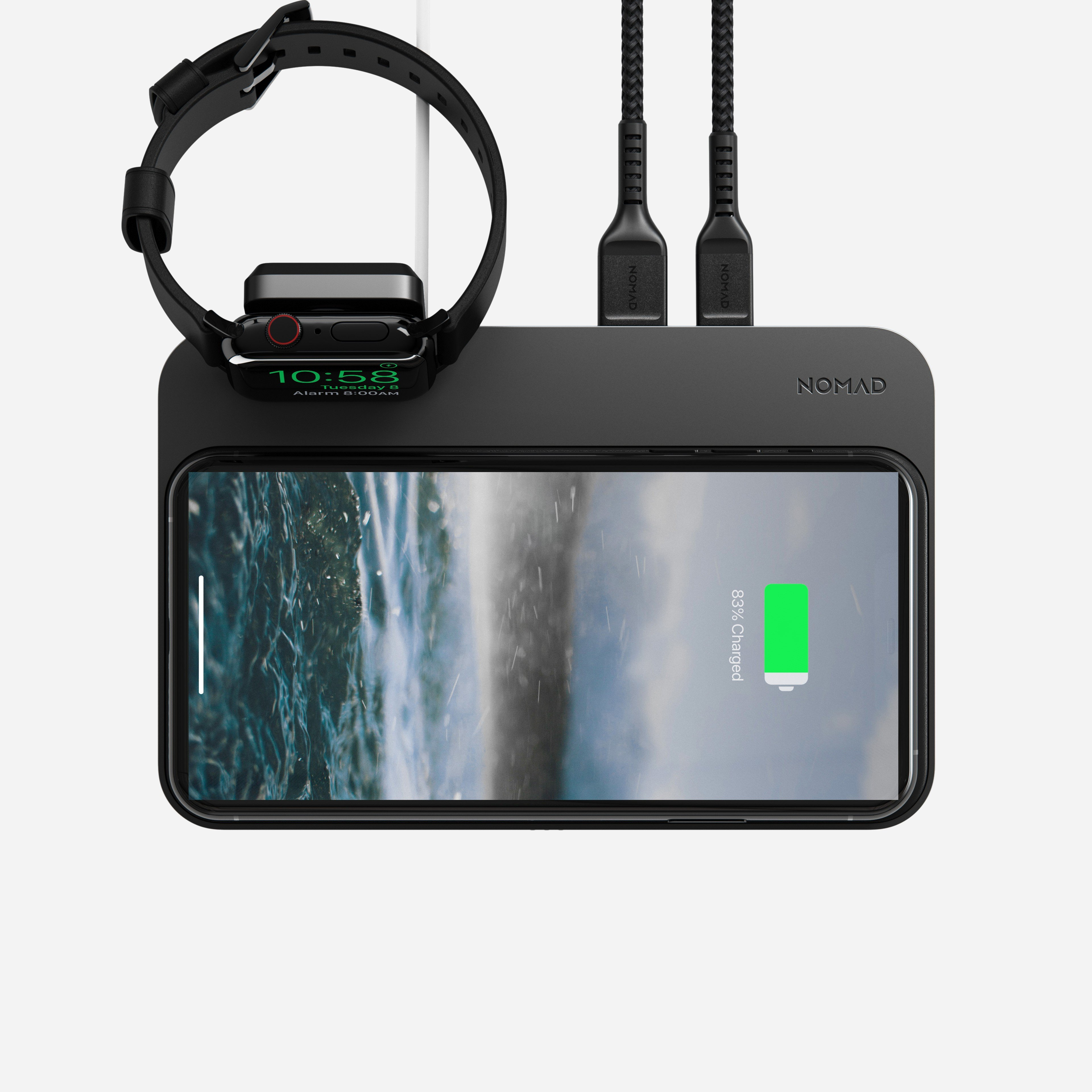 Base Station Apple Watch Mount with devices charging