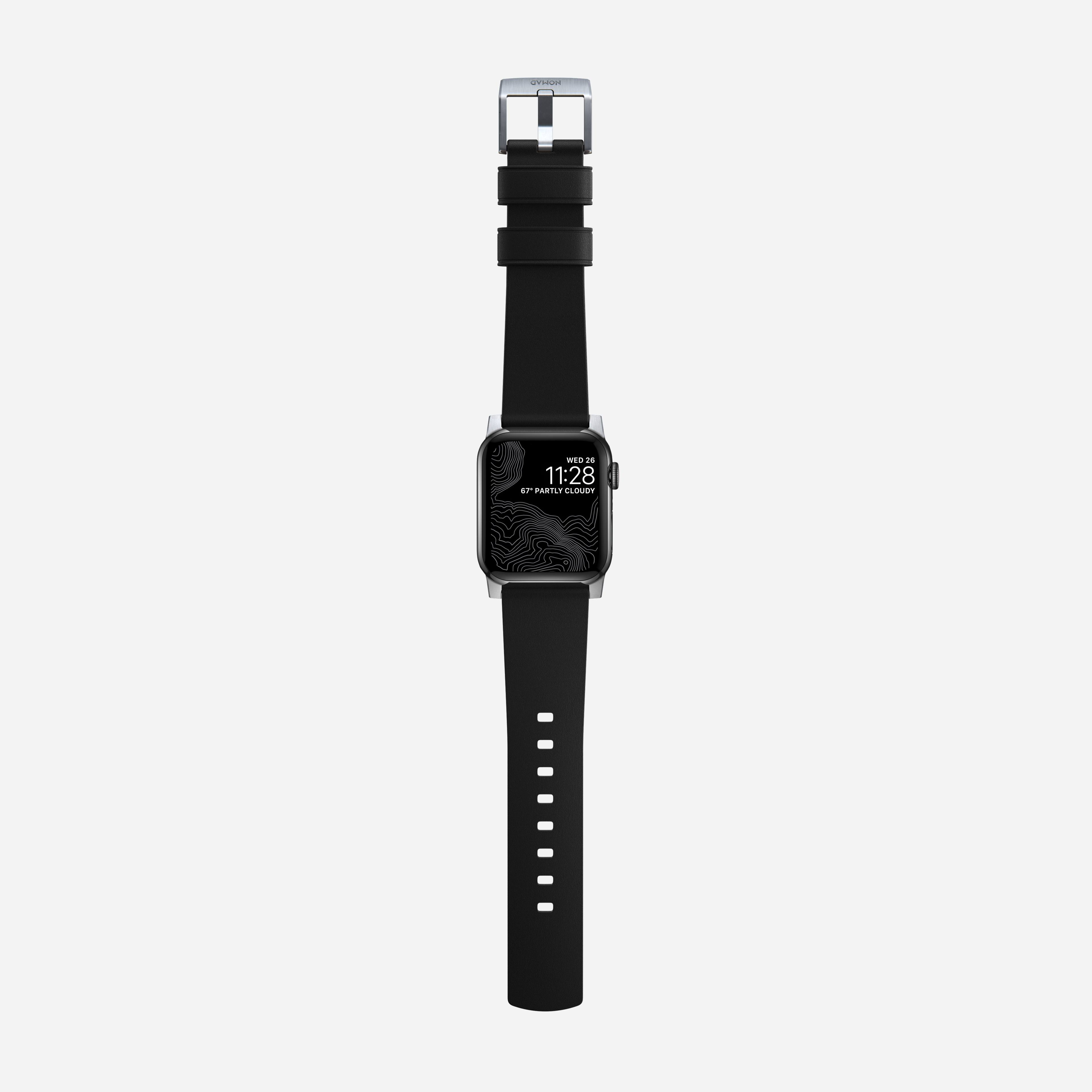 Active strap pro heinen leather black silver hardware 40mm