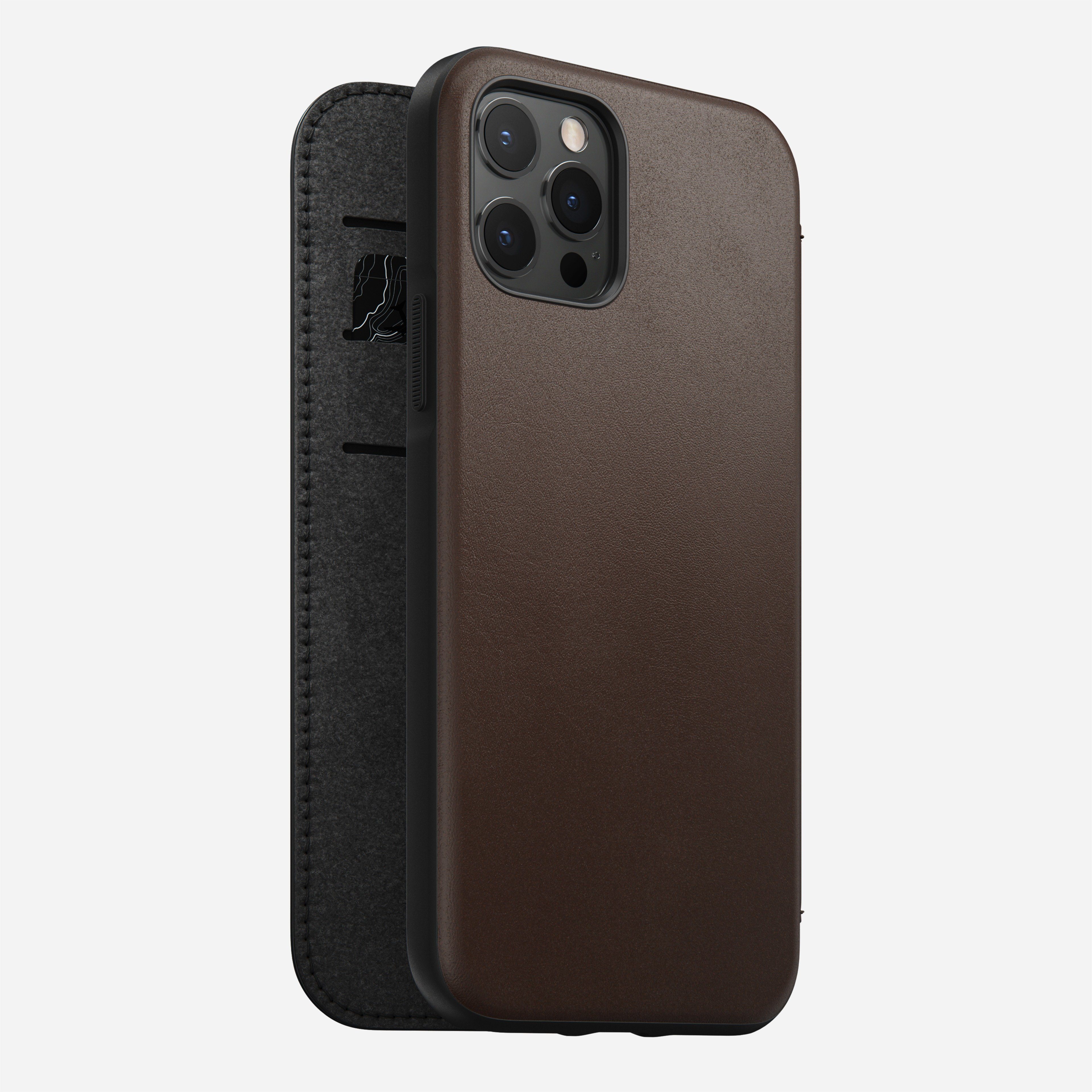 Rugged folio horween leather rustic brown iphone 12 pro