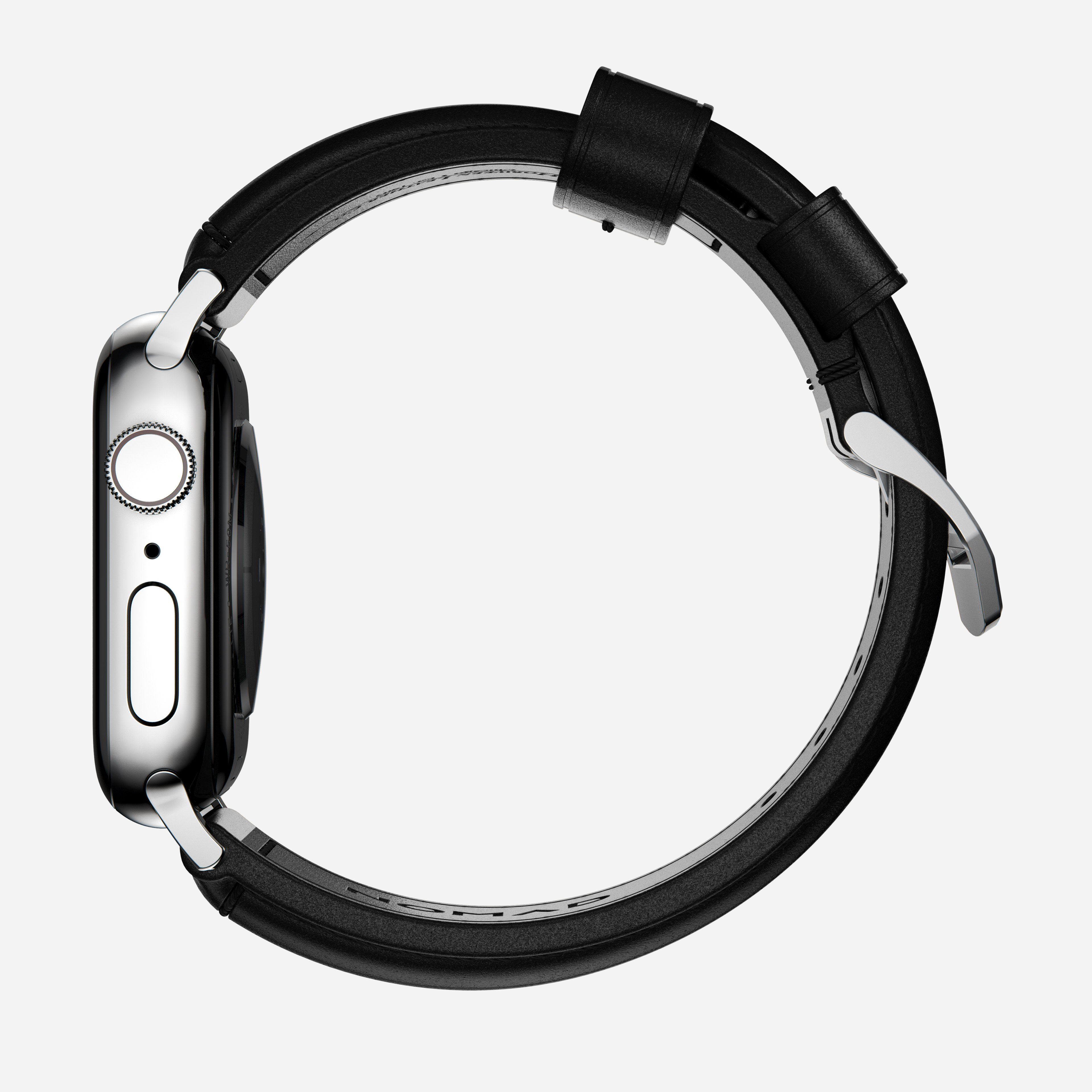 Traditional strap black leather silver hardware 40mm