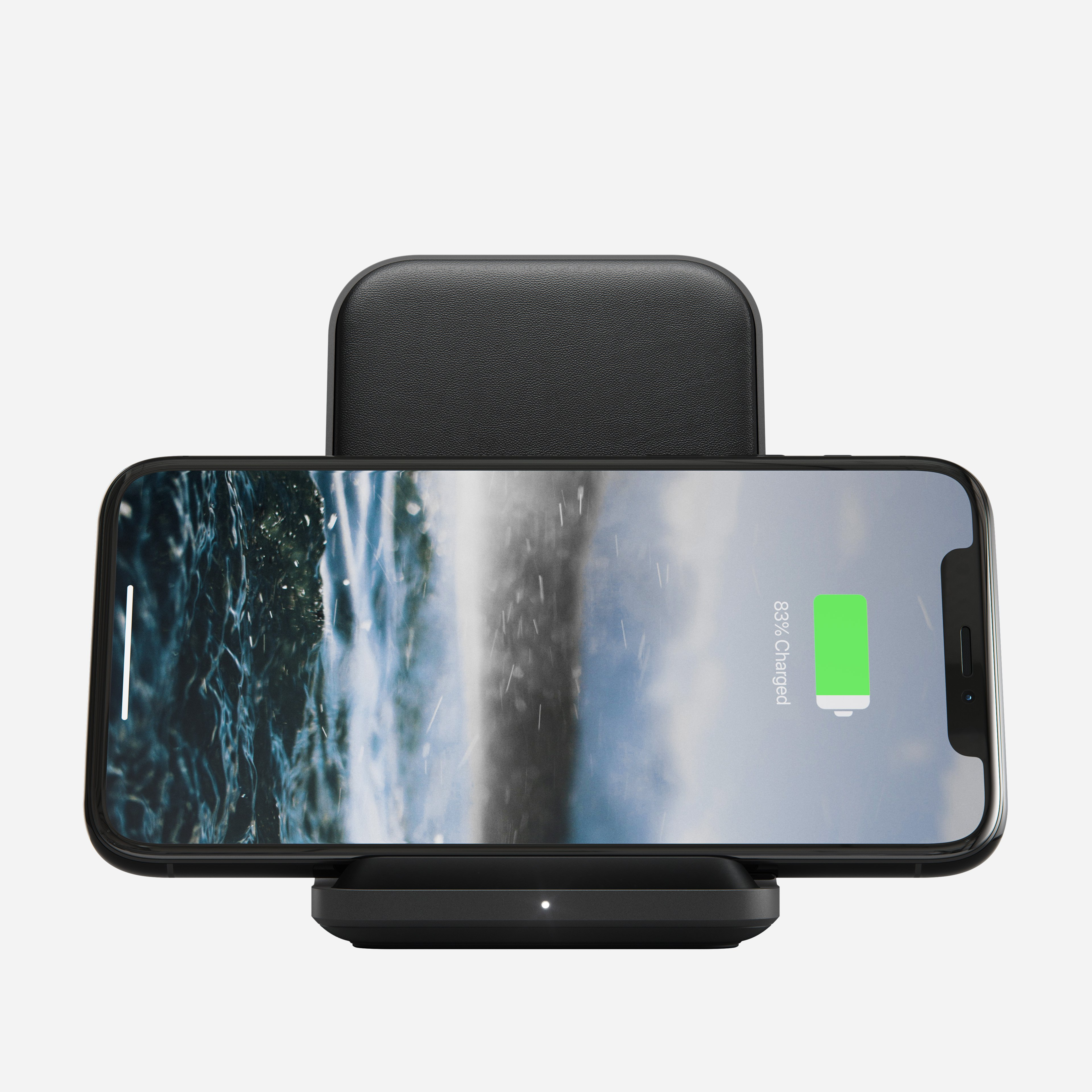 Base Station Stand with iPhone charging horizontally