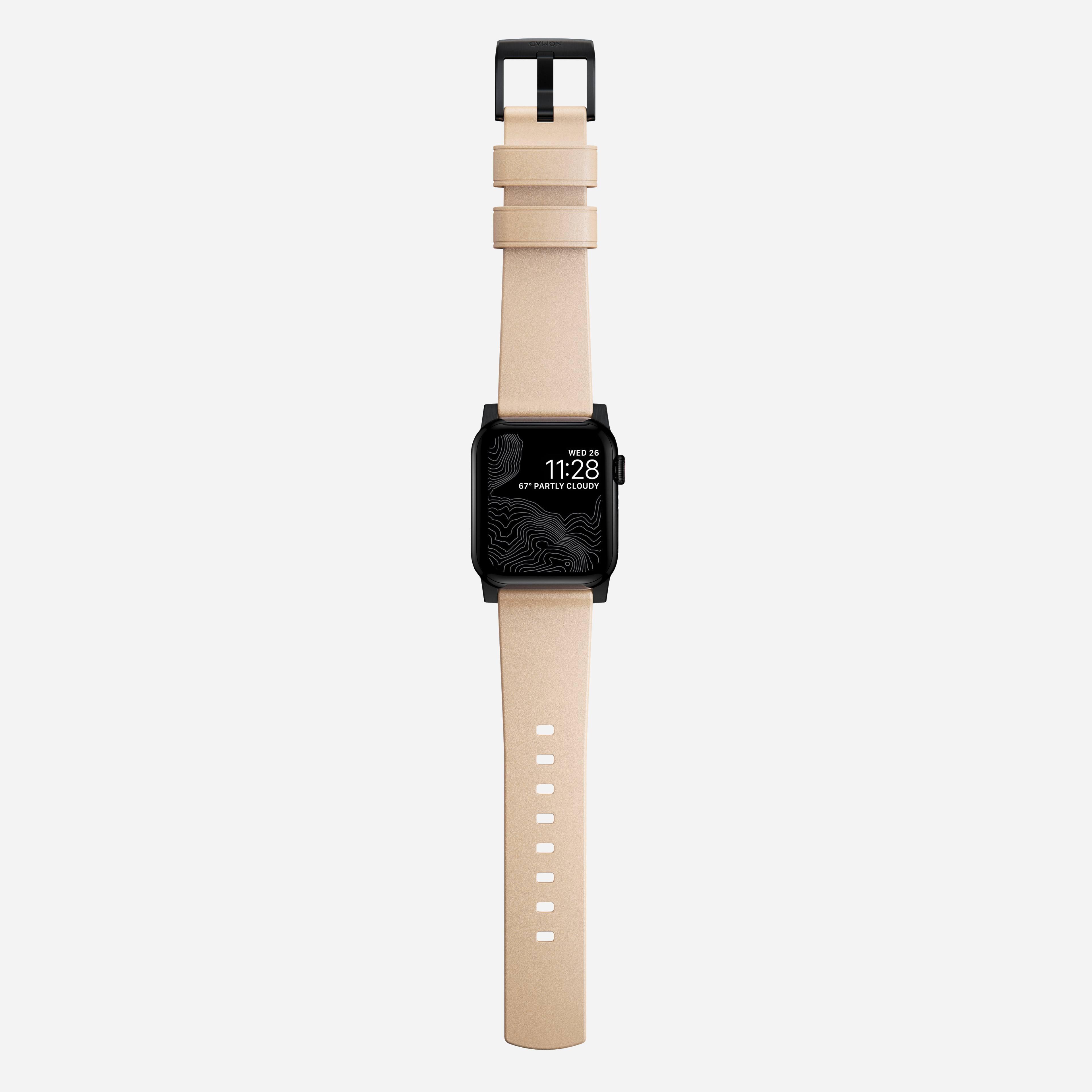 Modern strap horween leather natural black hardware