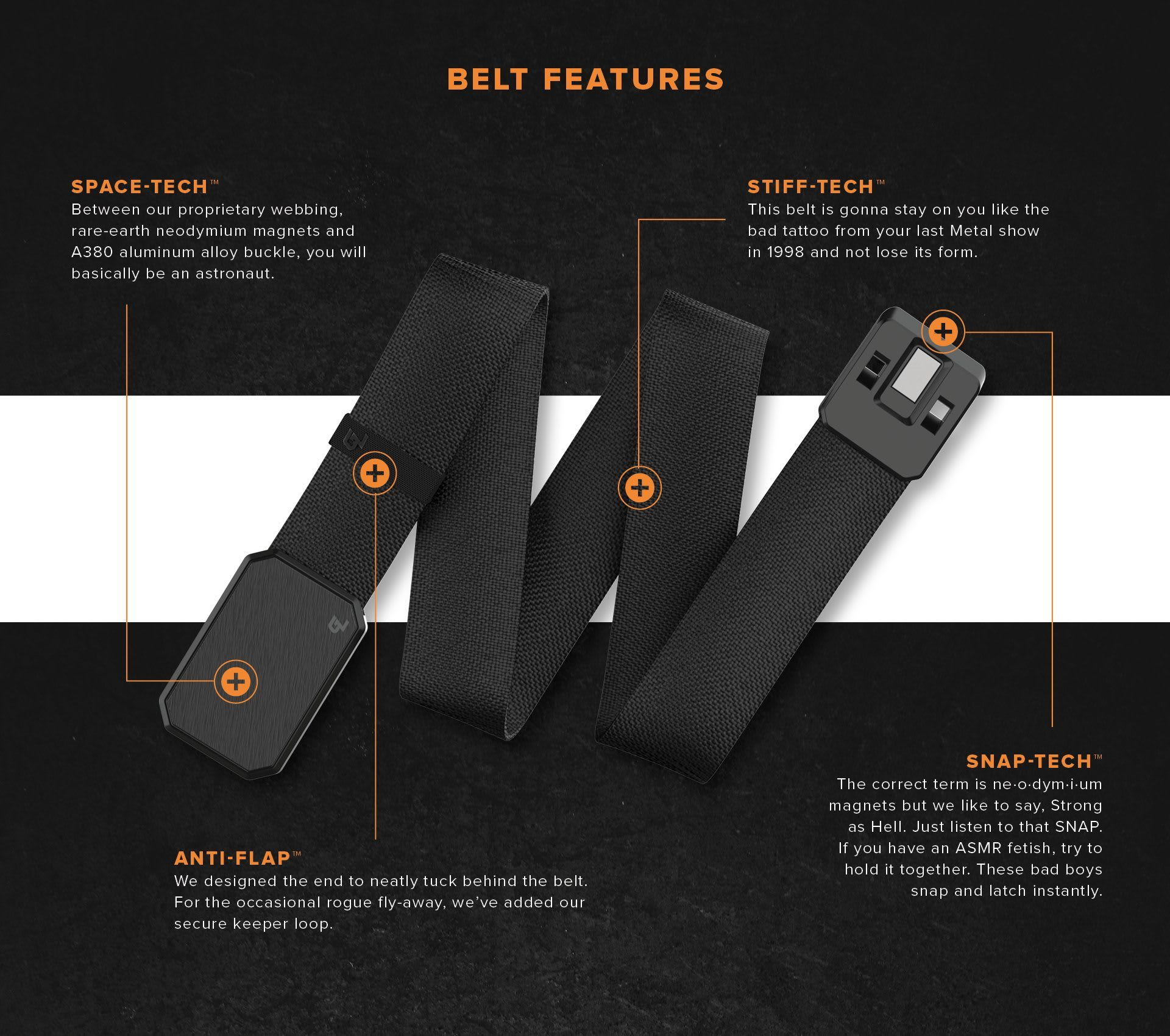 Belt Features; Space Tech, Stiff Tech, Snap-Tech and Anti-Flap