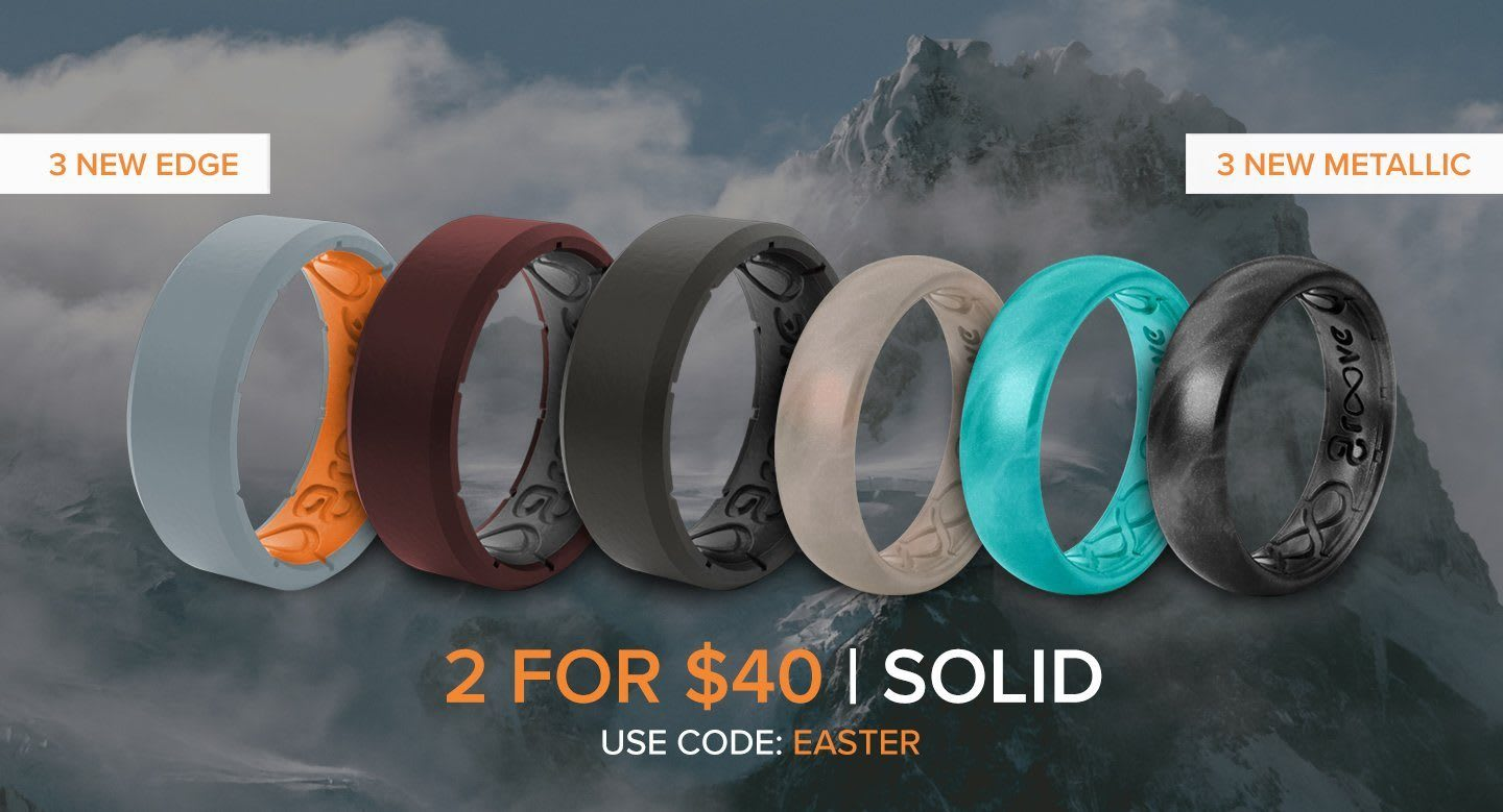 Easter Sale, 2 for $40 solid rings, multiple solid rings overlaid on mountain backdrop