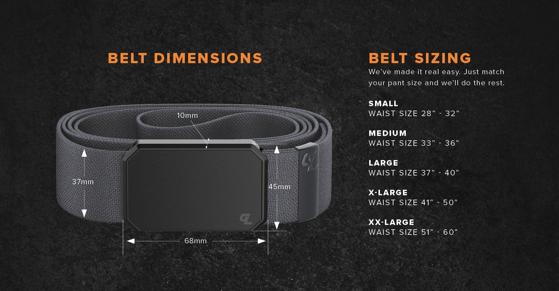 "Belt Sizing; Small 28"" - 32"", Medium 33"" - 36"", Large 37"" - 40"", XL 41"" - 50"",  XL 51"" - 60"""