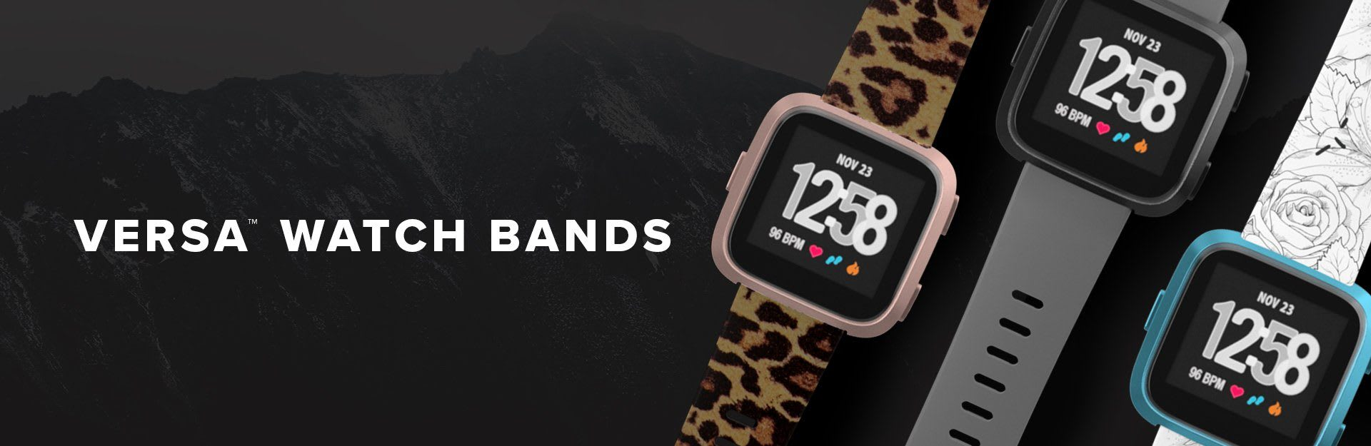 Versa Watch Bands, leopard, solid grey, winter rose watch bands next to each other
