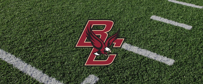 Boston College logo on football field