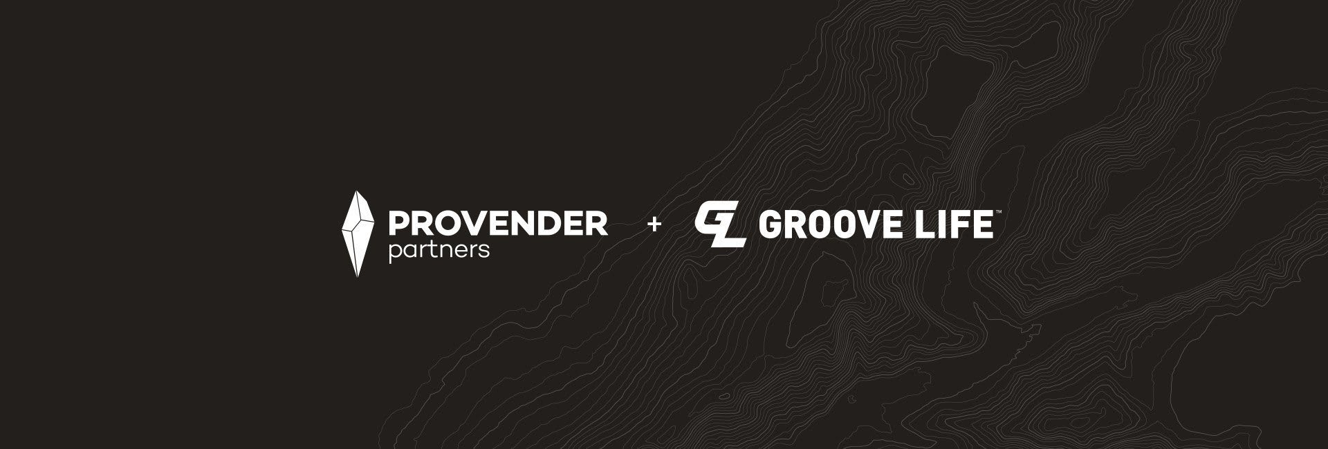 Provender Partners and Groove Life, overlaid on black background of grey topographical lines