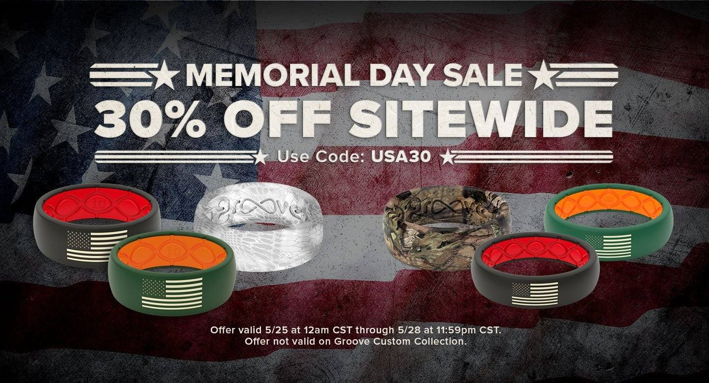 Memorial Day Sale 30% off sitewide, featuring multiple hero rings and camo rings overlaid on a US flag