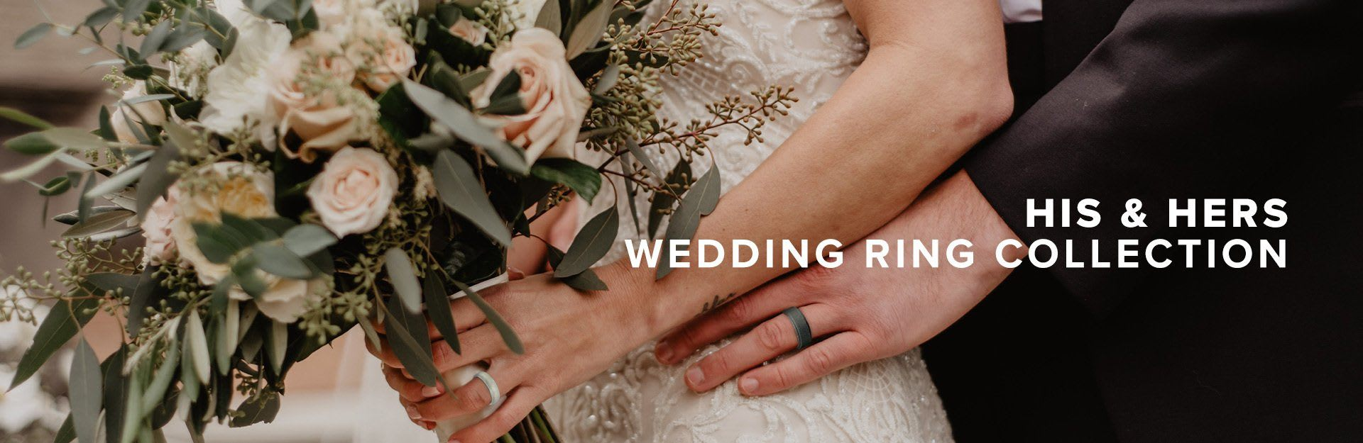 Wedding Ring Collection, a wedding pose of a woman holding her bouquet while her husband stands behind her