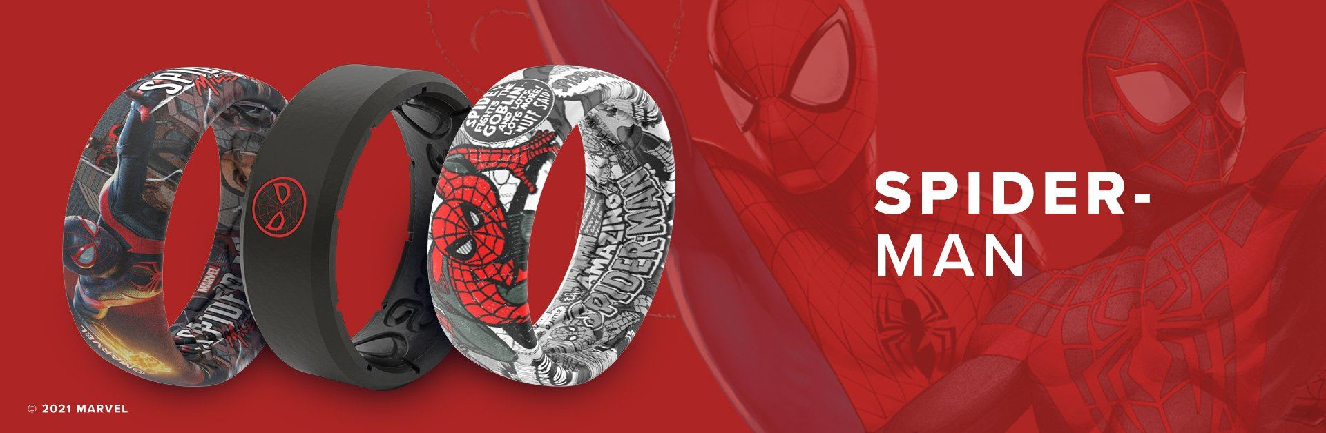 Spider-Man, three Spider-Man rings overlaid on red background with a faint Spider-Man behind