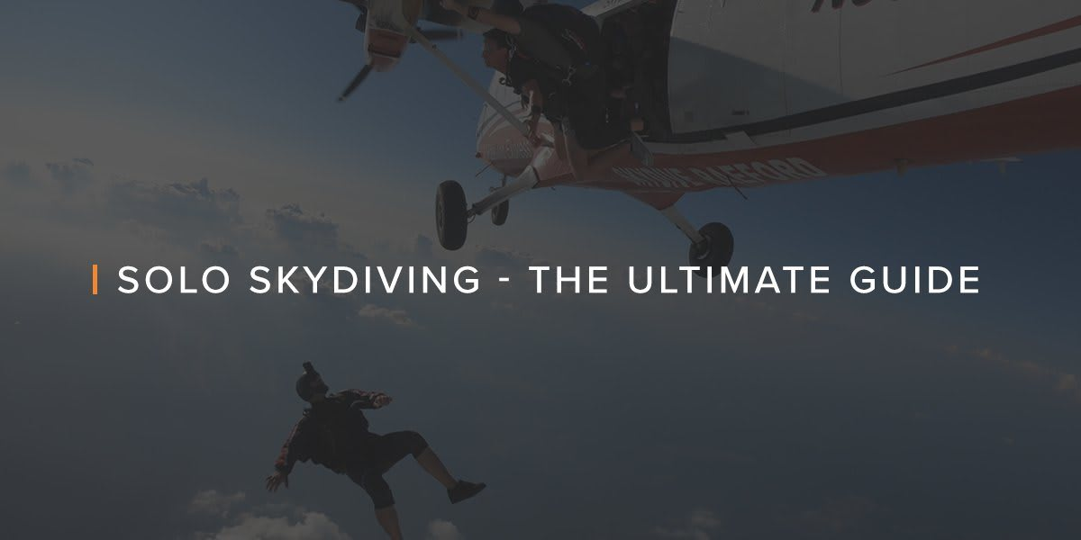 Three men skydiving out of a plane