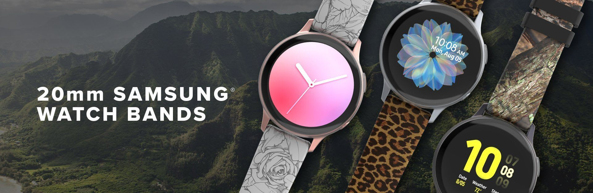 20mm Samsung Watch Bands, winter rose, leopard, and camo are featured