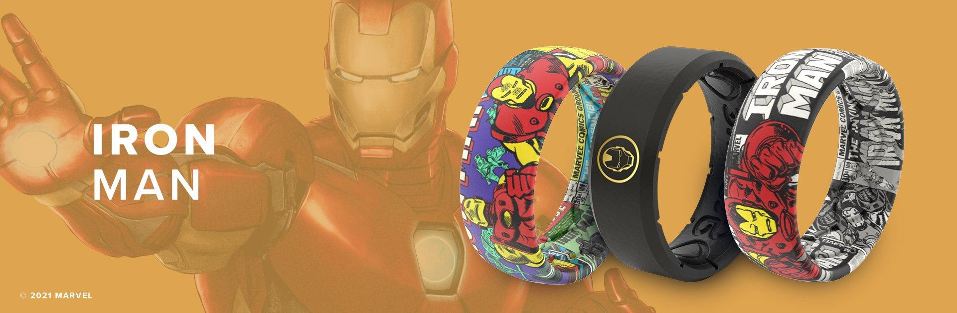 Iron Man, 3 Iron Man rings overlaid on orange background with a faint Iron Man in the background