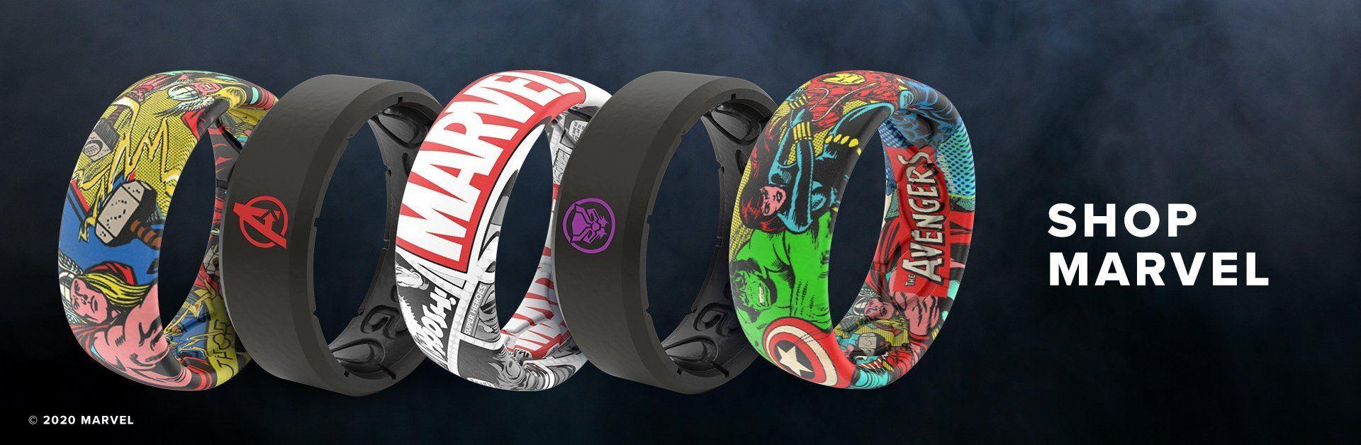 Shop Marvel, multiple Marvel rings overlaid on a dark background