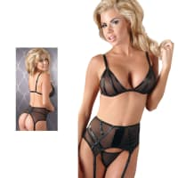 Porduct image for Black Power Net Bra, Suspender Belt And GString Set