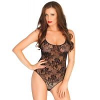 Porduct image for Leg Avenue Rose Lace Strappy Black Teddy UK 8 to 14