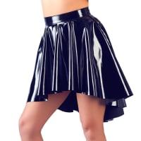 Porduct image for Wet Looked Shiny Black Vinyl Asymmetrical Flared Rock Skirt