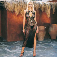 Porduct image for Leg Avenue 2 Piece Swirl Lace Slit Dress with GString