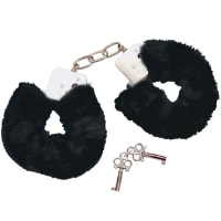 Porduct image for Bad Kitty Black Plush Handcuffs