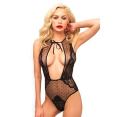 Buy Leg Avenue Swiss Dot And Lace Keyhole Teddy Online