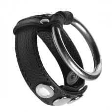 Buy Leather and Steel Cock and Ball Ring Online