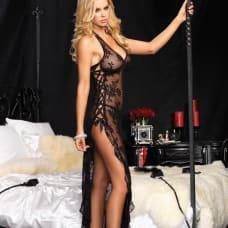 Buy Leg Avenue 2 Piece Rose Lace Long Dress with Lace Side Black Online