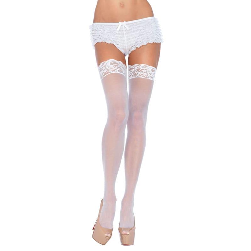 Thumb for main image Leg Avenue Plus Size Sheer Thigh Highs White