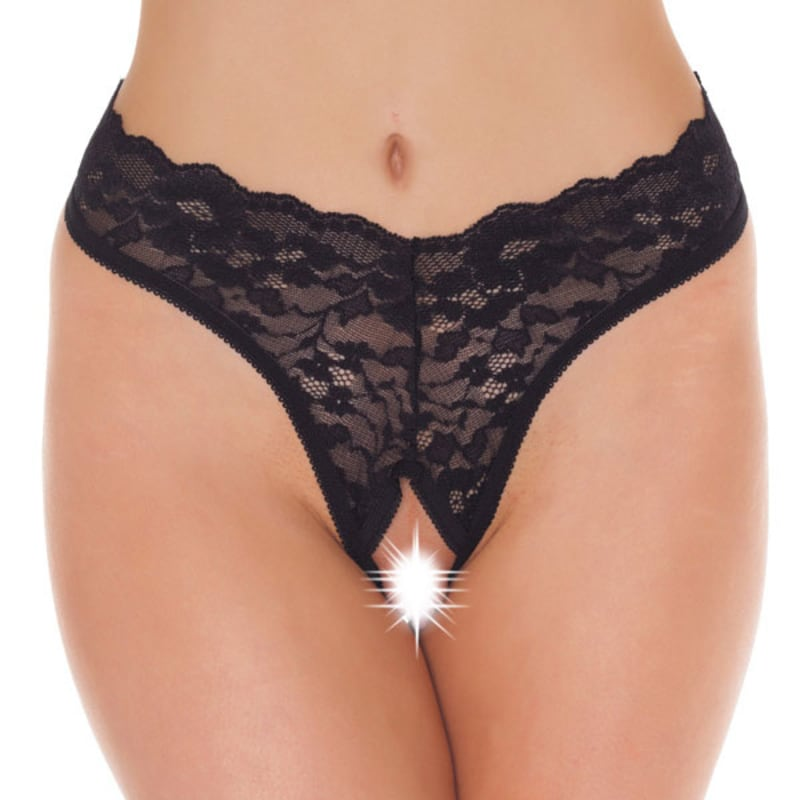 Thumb for main image Black Lace Open Crotch GString