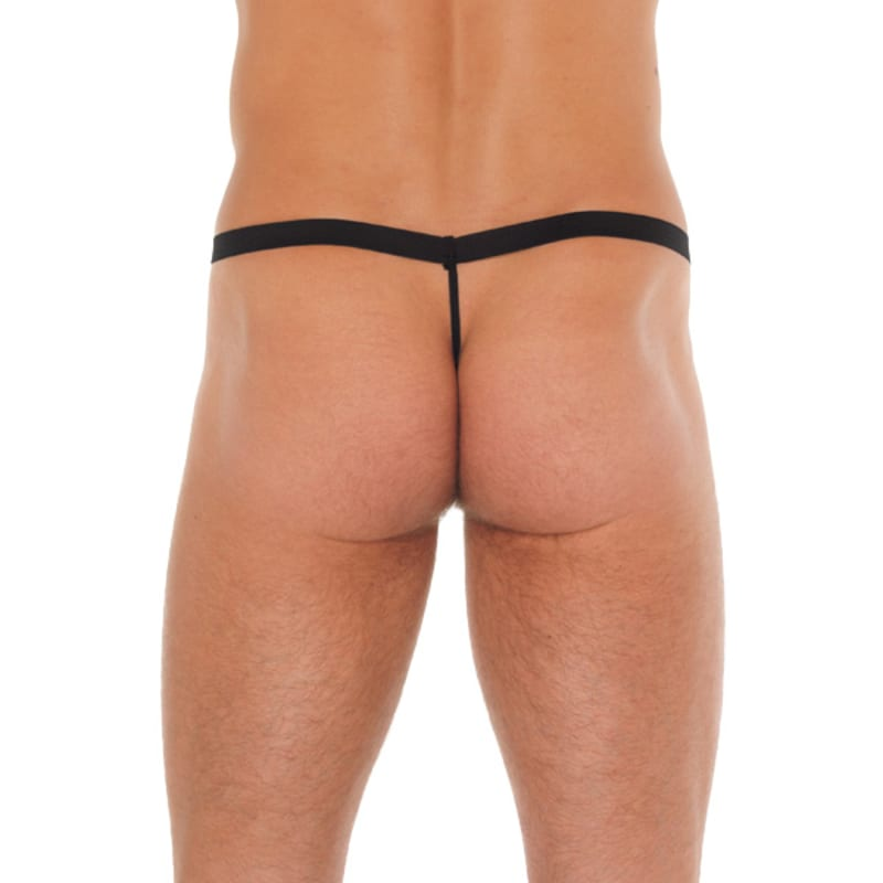 Full size image of Mens Black GString With Pink Pouch