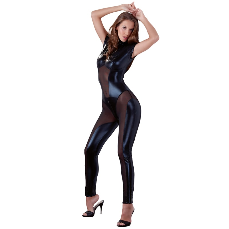 Thumb for main image Cottelli Collection Wetlook And Mesh Jumpsuit