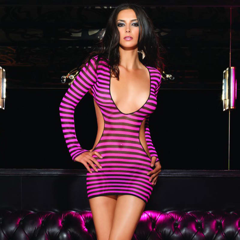 Thumb for main image Leg Avenue 2 Piece Striped Fishnet Mini Dress with Cut Out Sides