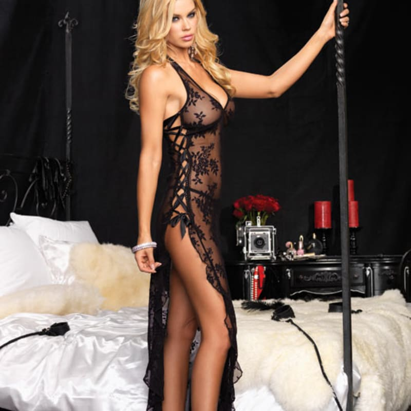 Thumb for main image Leg Avenue 2 Piece Rose Lace Long Dress with Lace Side Black
