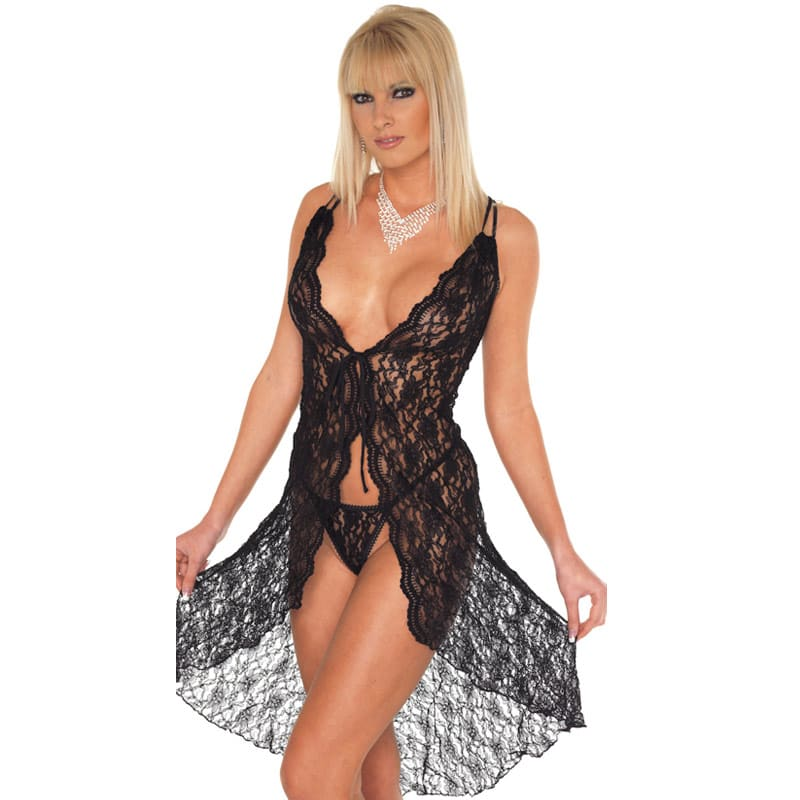 Thumb for main image Black Lace Night Dress and GString One Size 8-12 UK