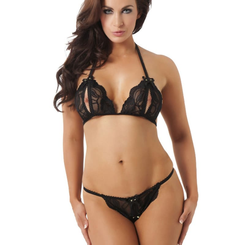 Full size image of Black Lace Halter Neck Open Cup Bra  and  Thong