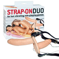 Porduct image for Vibrating Flesh Strap On Duo Vibrating Dongs