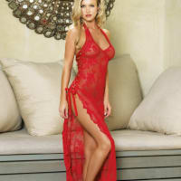 Porduct image for Leg Avenue 2 Piece Rose Lace Long Dress with Lace Side Red