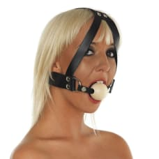 Buy Leather Gag with Wooden Ball and Headstrap Online