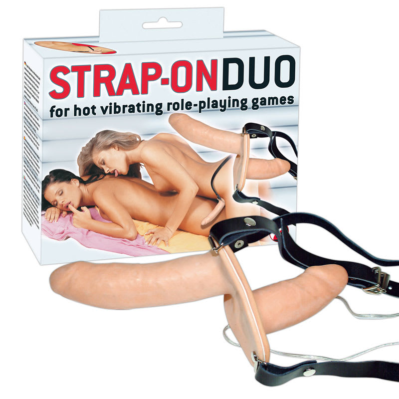 Full size image of Vibrating Flesh Strap On Duo Vibrating Dongs