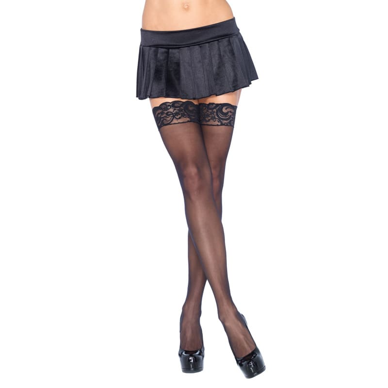 Thumb for main image Leg Avenue Sheer Hold Ups with Lace Tops Black