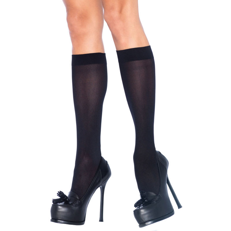Thumb for main image Leg Avenue Nylon Knee Highs Black