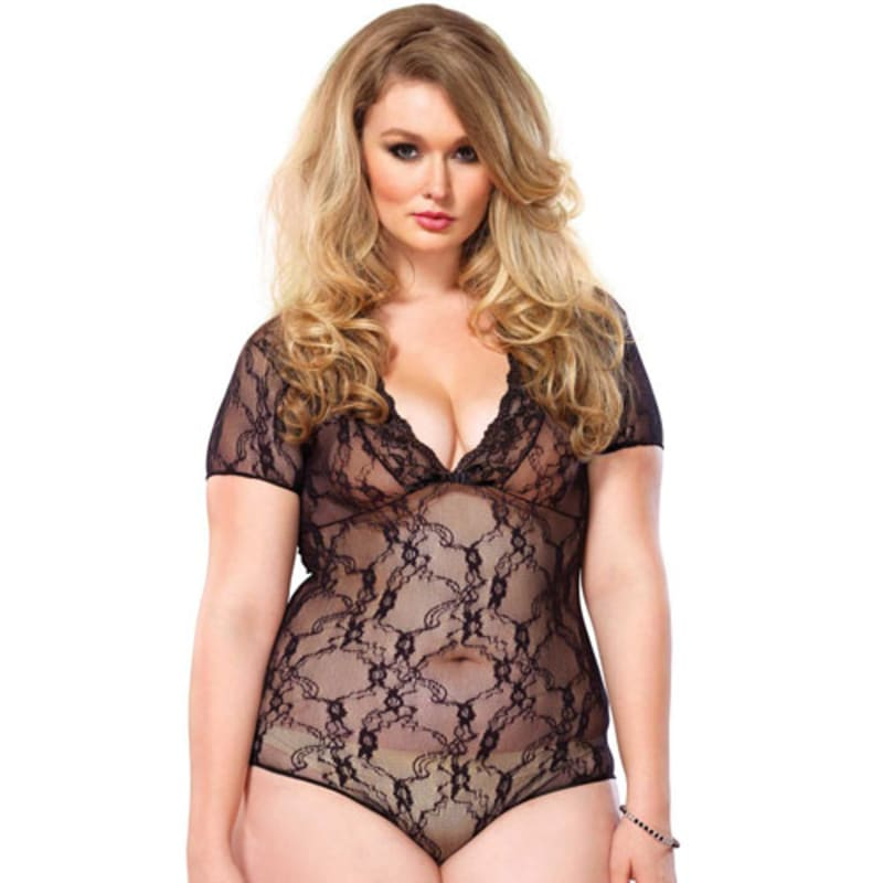 Thumb for main image Leg Avenue Floral Lace Backless DeepV Teddy Black Plus Size